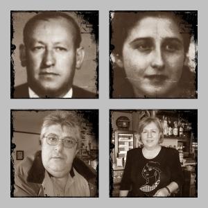 Fundadores de la Confitería Biarritz, Francisco y Juana, y sus actuales  propietarios, Rosa y Gerardo.